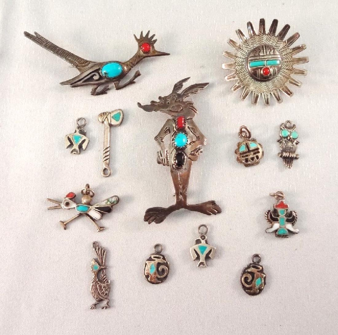 Southwest Sterling and Turquoise Brooches and Charms