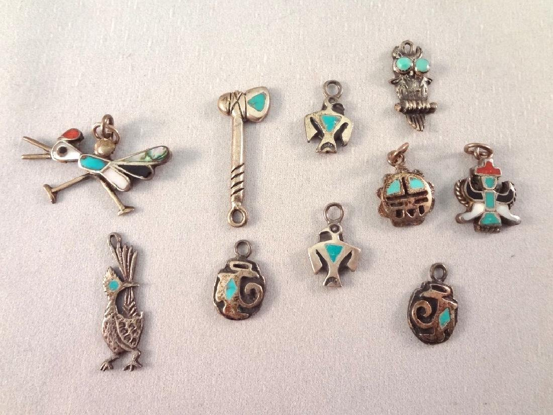 Southwest Sterling and Turquoise Brooches and Charms - 6