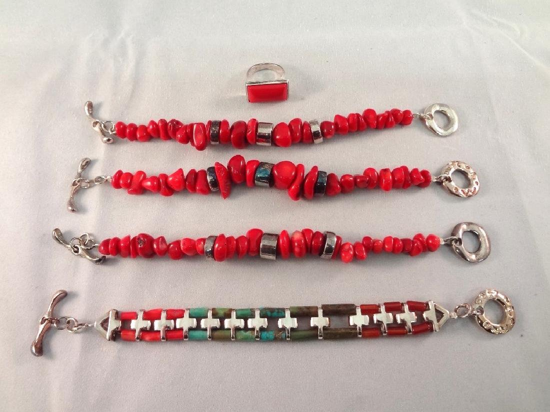 (4) Robert Lee Morris Sterling Silver Bracelets and (1)