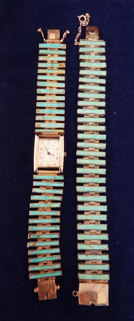 Sterling Silver and Turquoise Watch and Matching