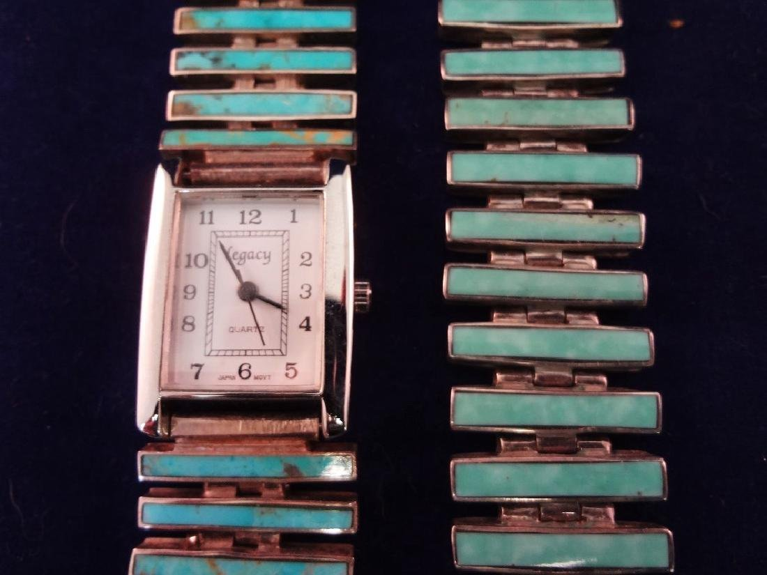 Sterling Silver and Turquoise Watch and Matching - 2
