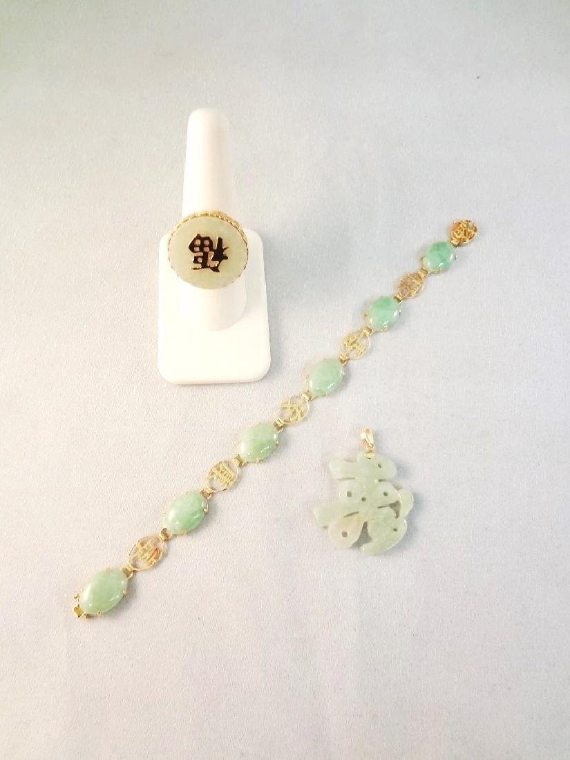 14K Gold and Green Apple Jade Bracelet, Ring and