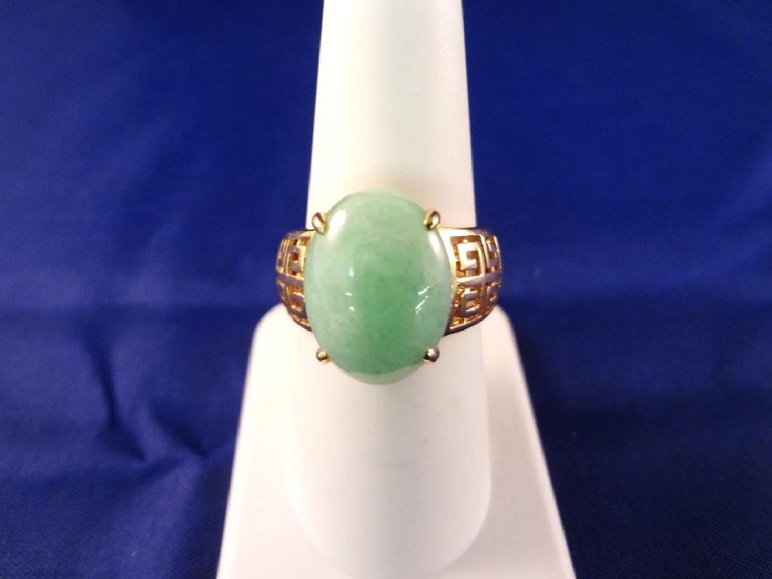 14K Gold And Green Apple Jade Ring