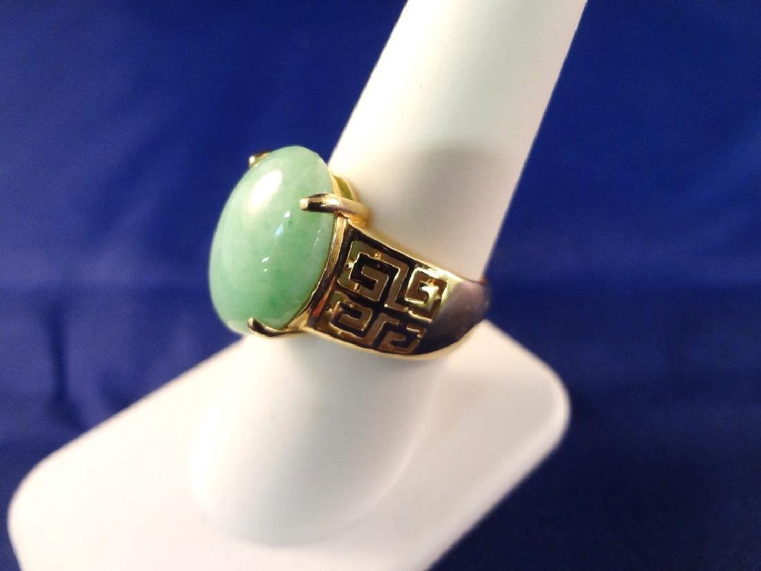 14K Gold And Green Apple Jade Ring - 2