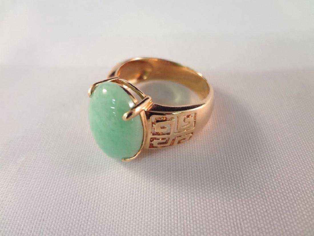 14K Gold And Green Apple Jade Ring - 3