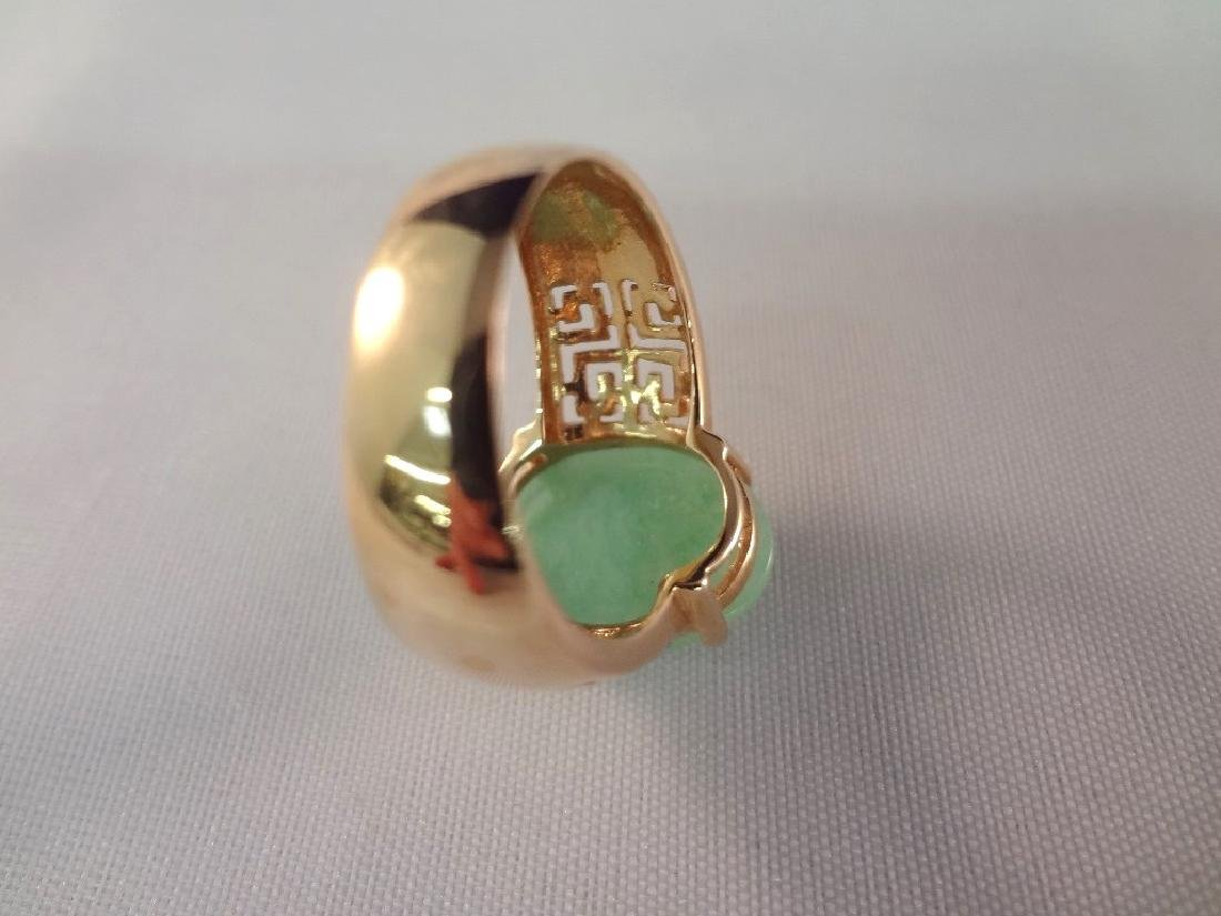 14K Gold And Green Apple Jade Ring - 4