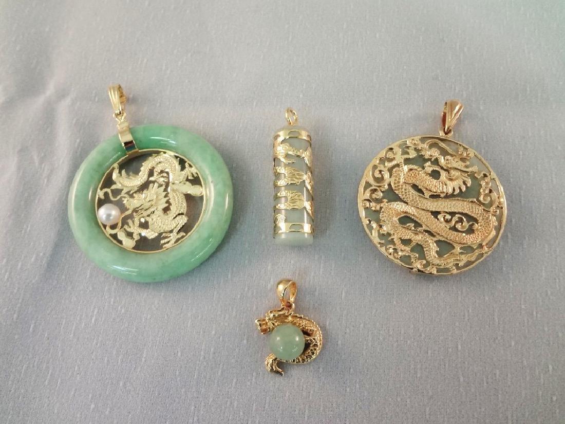 14K Gold and Green Apple Jade Dragon Pendants (4)