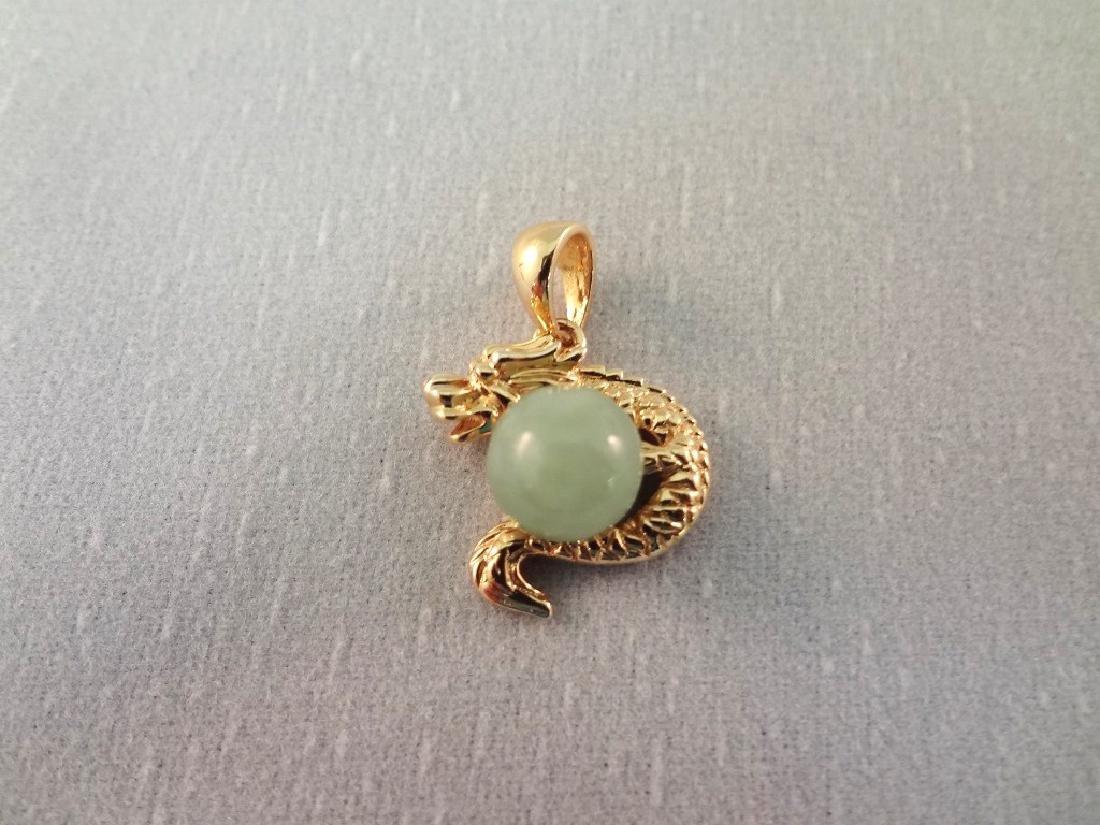 14K Gold and Green Apple Jade Dragon Pendants (4) - 6