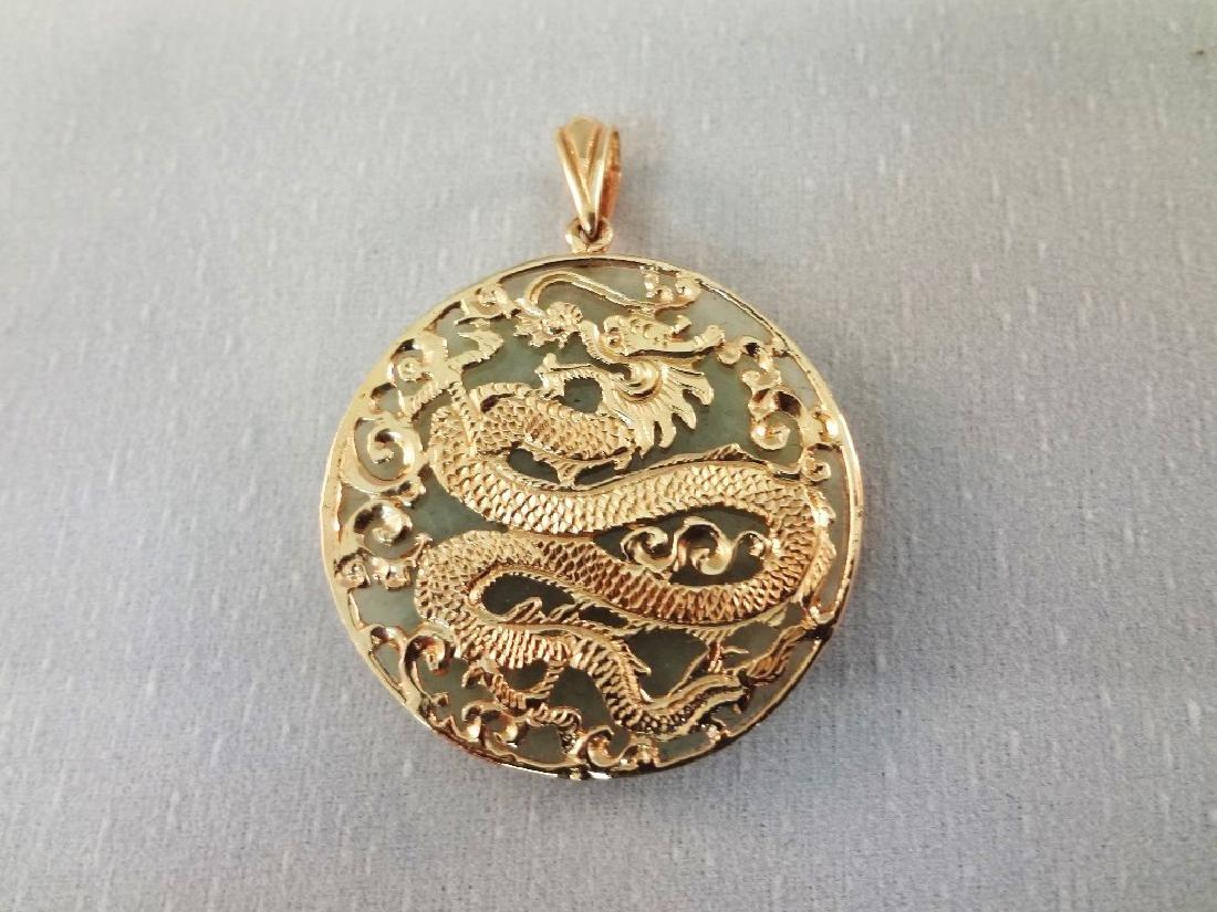 14K Gold and Green Apple Jade Dragon Pendants (4) - 7