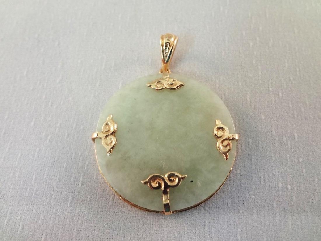 14K Gold and Green Apple Jade Dragon Pendants (4) - 8
