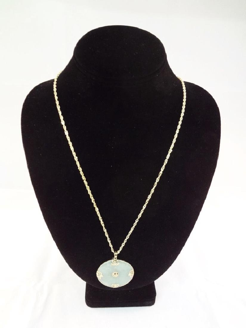 "14K Gold Green Apple Jade Necklace and Pendant 32"" long"