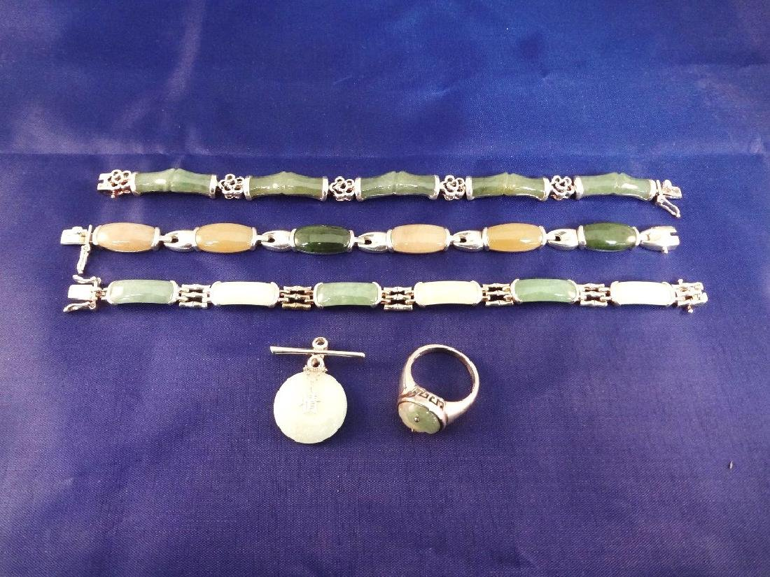 Sterling Silver and Multi Color Jade Jewelry Suite: (3)