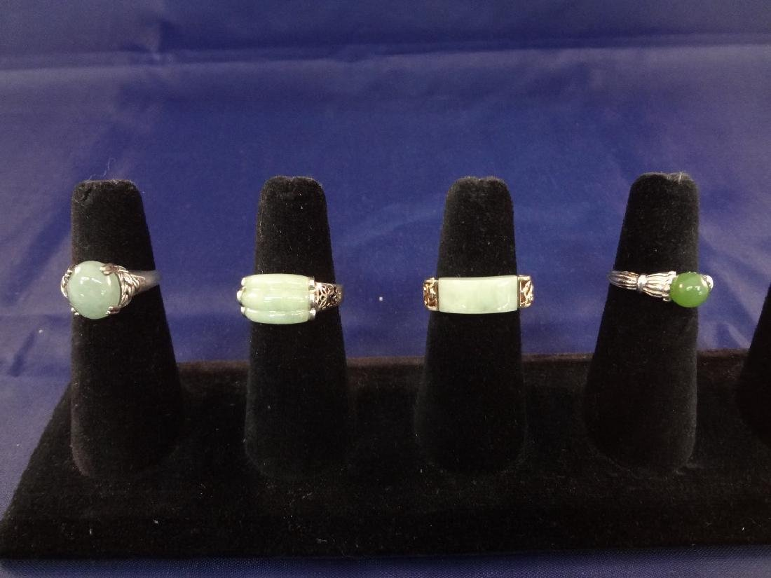 (4) Sterling Silver and Green Apple Jade Rings