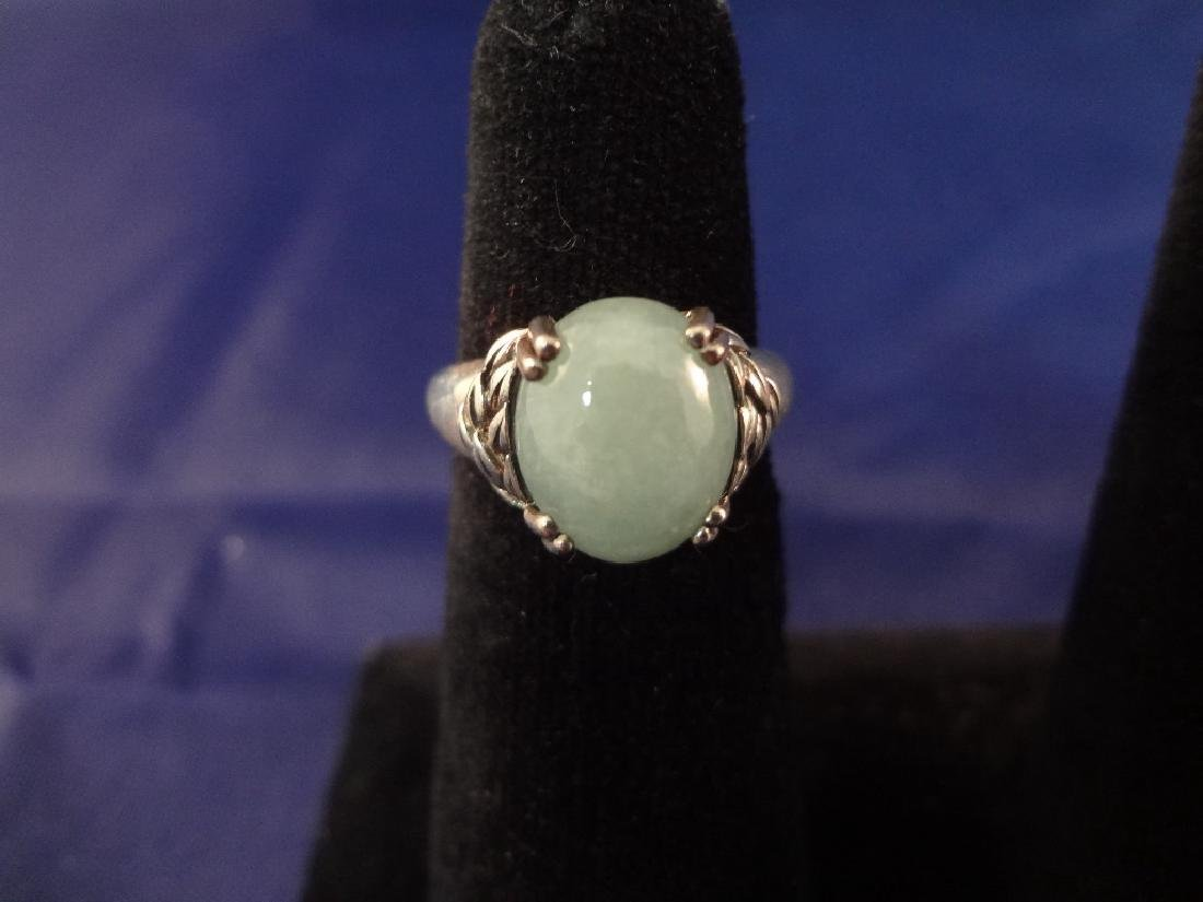 (4) Sterling Silver and Green Apple Jade Rings - 2