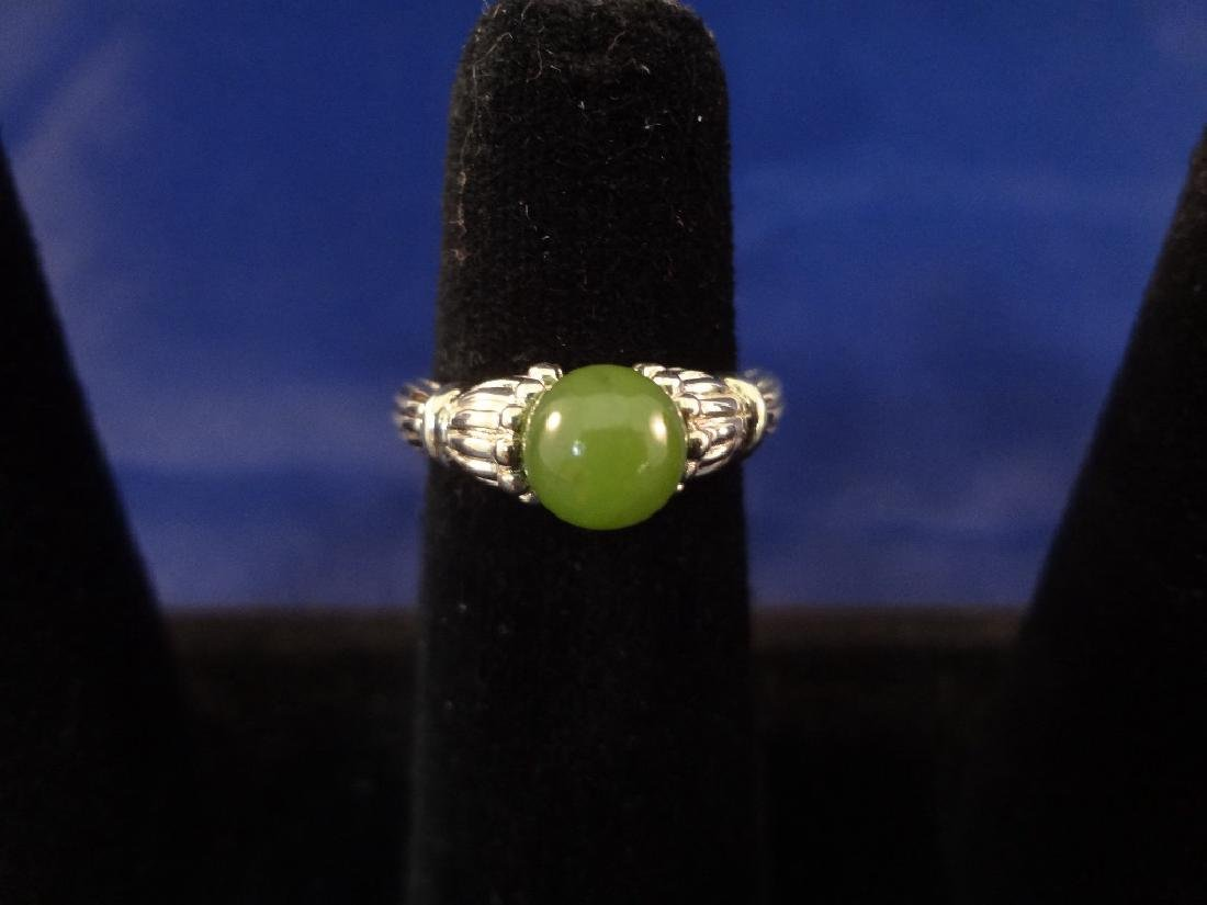 (4) Sterling Silver and Green Apple Jade Rings - 6