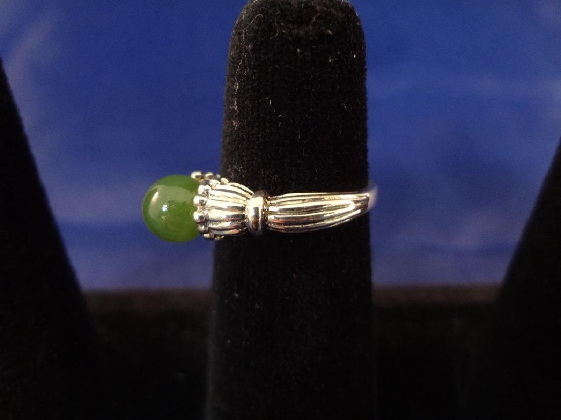 (4) Sterling Silver and Green Apple Jade Rings - 7