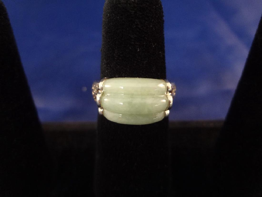 (4) Sterling Silver and Green Apple Jade Rings - 8