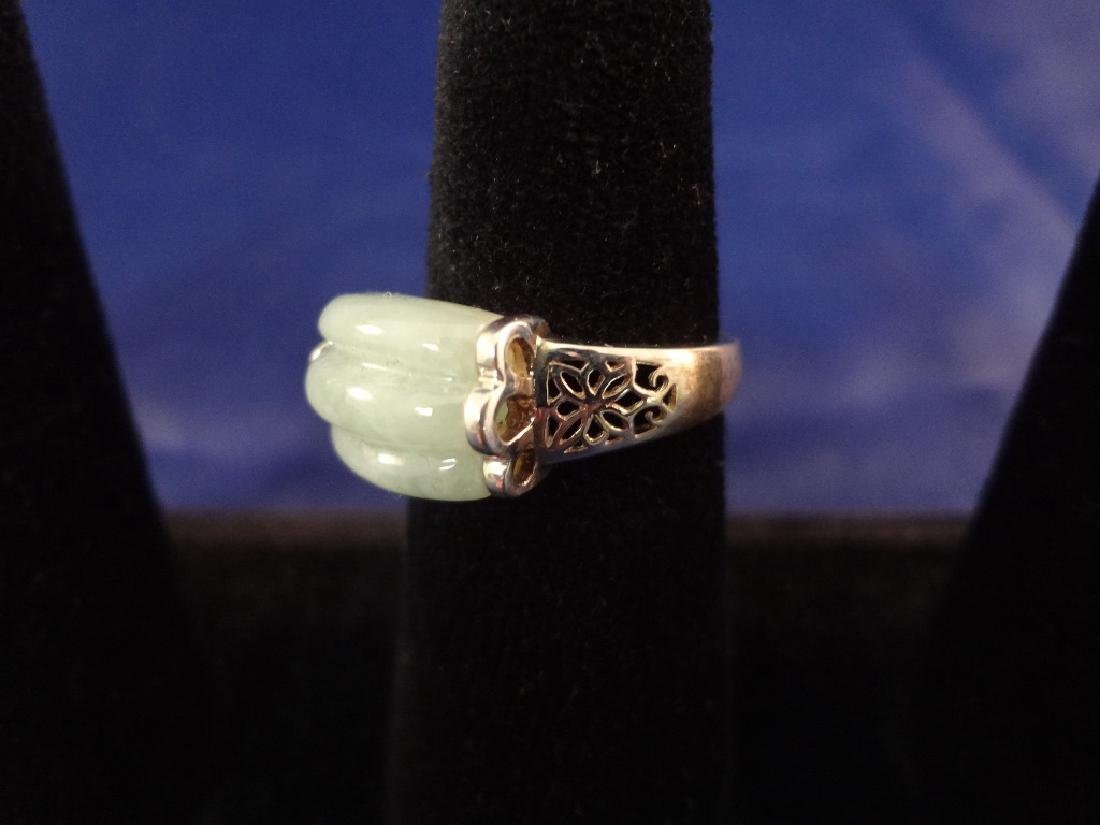 (4) Sterling Silver and Green Apple Jade Rings - 9