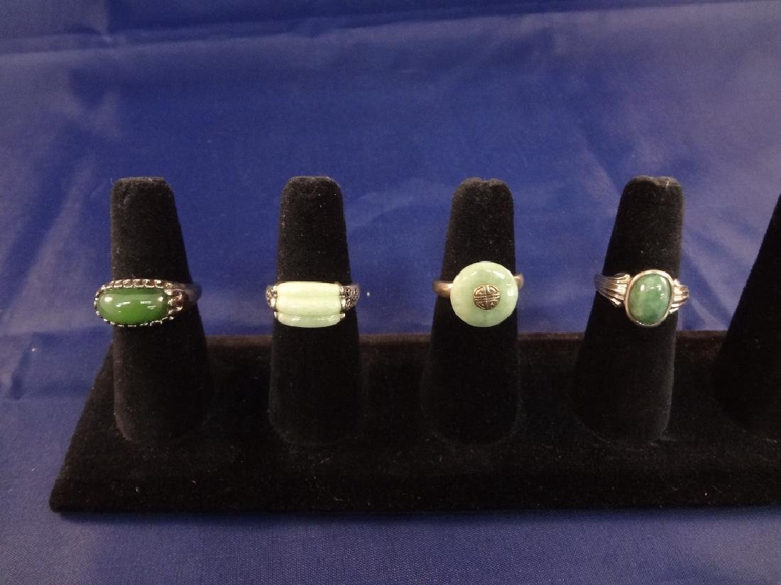 (4) Sterling Silver and Green Jade Rings