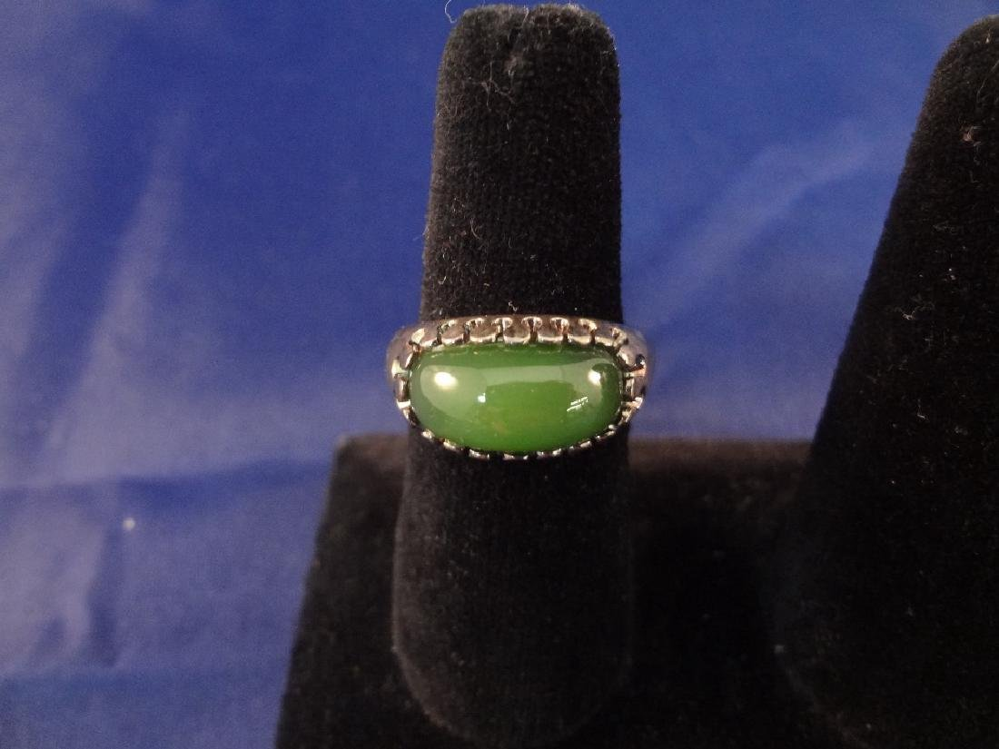 (4) Sterling Silver and Green Jade Rings - 2