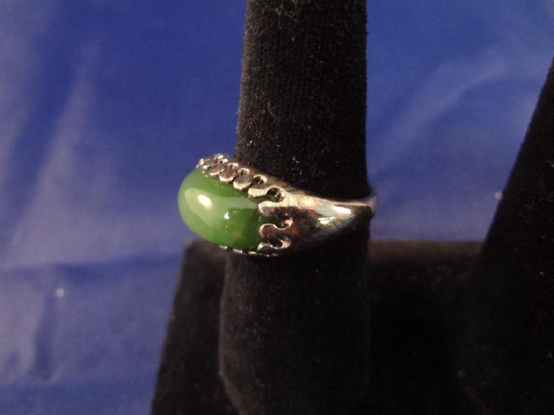 (4) Sterling Silver and Green Jade Rings - 3