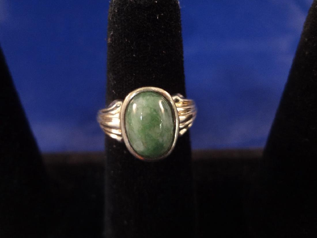 (4) Sterling Silver and Green Jade Rings - 6