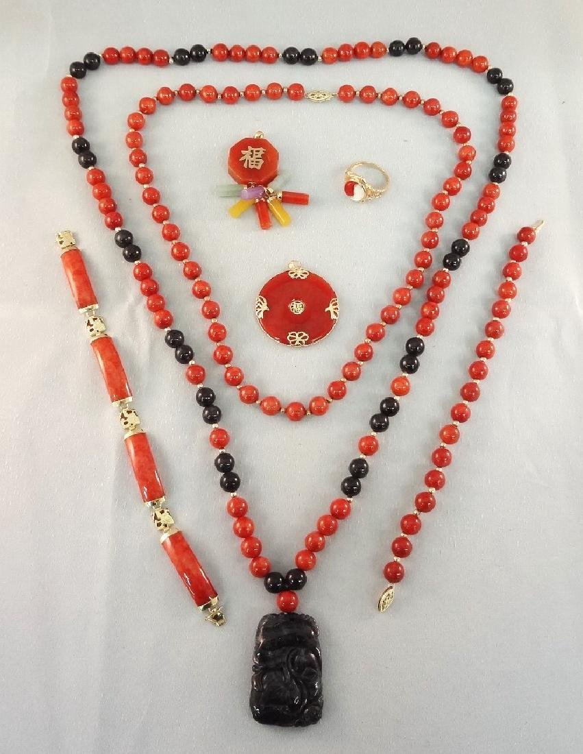 14K Gold and Red Coral Jade Jewelry Suite: (2)