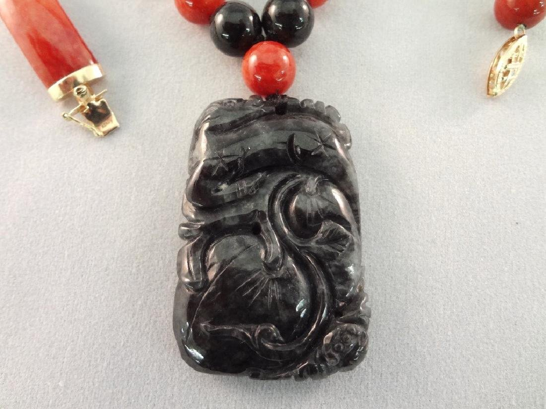 14K Gold and Red Coral Jade Jewelry Suite: (2) - 2
