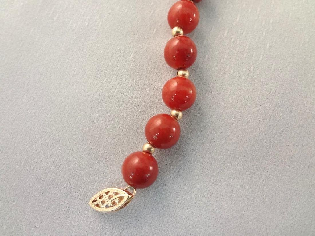 14K Gold and Red Coral Jade Jewelry Suite: (2) - 4