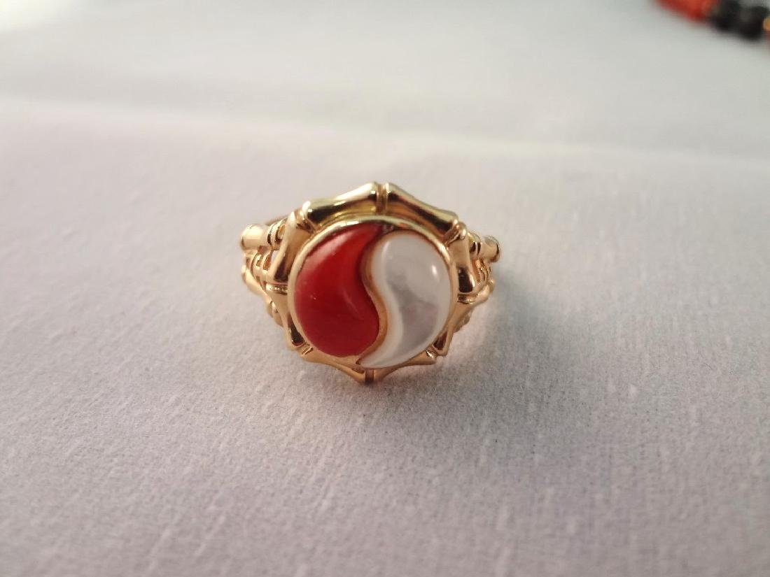 14K Gold and Red Coral Jade Jewelry Suite: (2) - 6