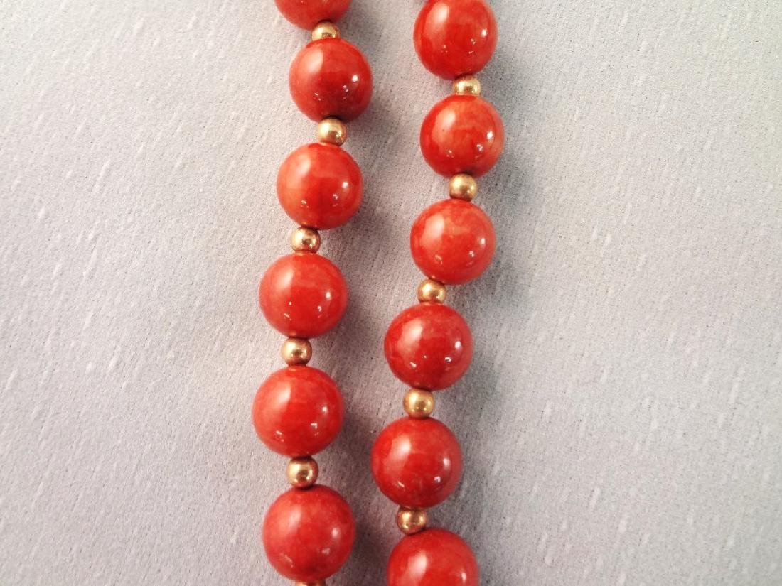 14K Gold and Red Coral Jade Jewelry Suite: (2) - 8