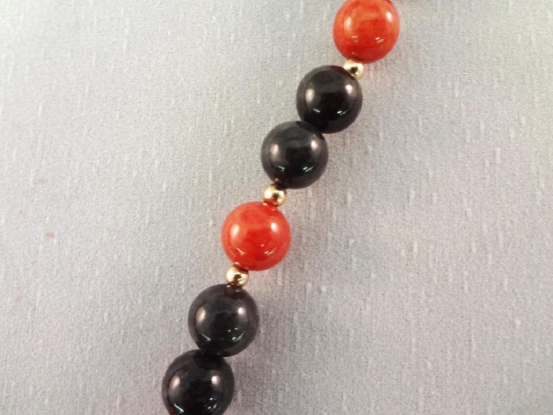14K Gold and Red Coral Jade Jewelry Suite: (2) - 9