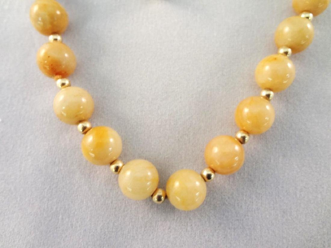 14K Gold and Multi Color Jade Jewelry Suite: (1) - 2