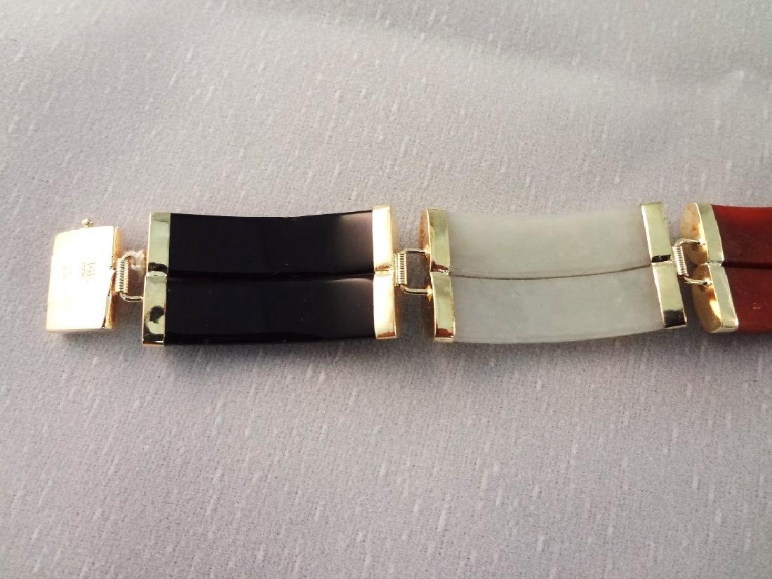 14K Gold and Multi Color Jade Jewelry Suite: Bracelet, - 4