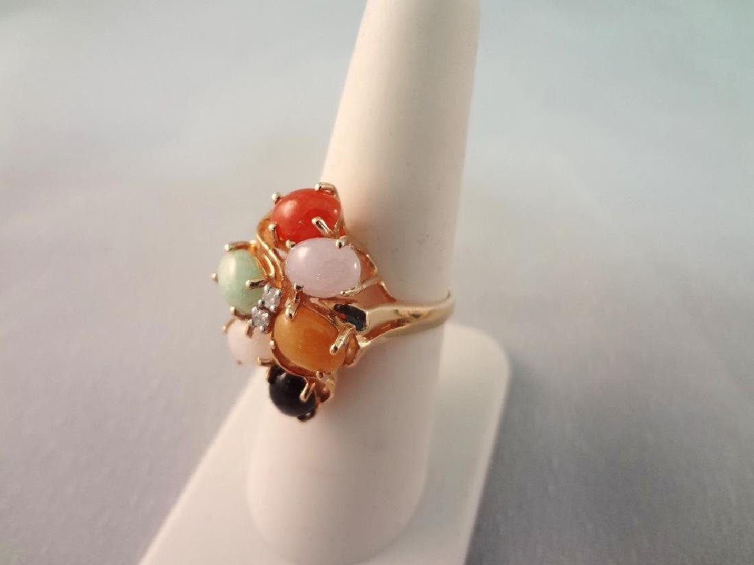 14K Gold Multi Color Jade Jewelry Suite: Ring, - 5