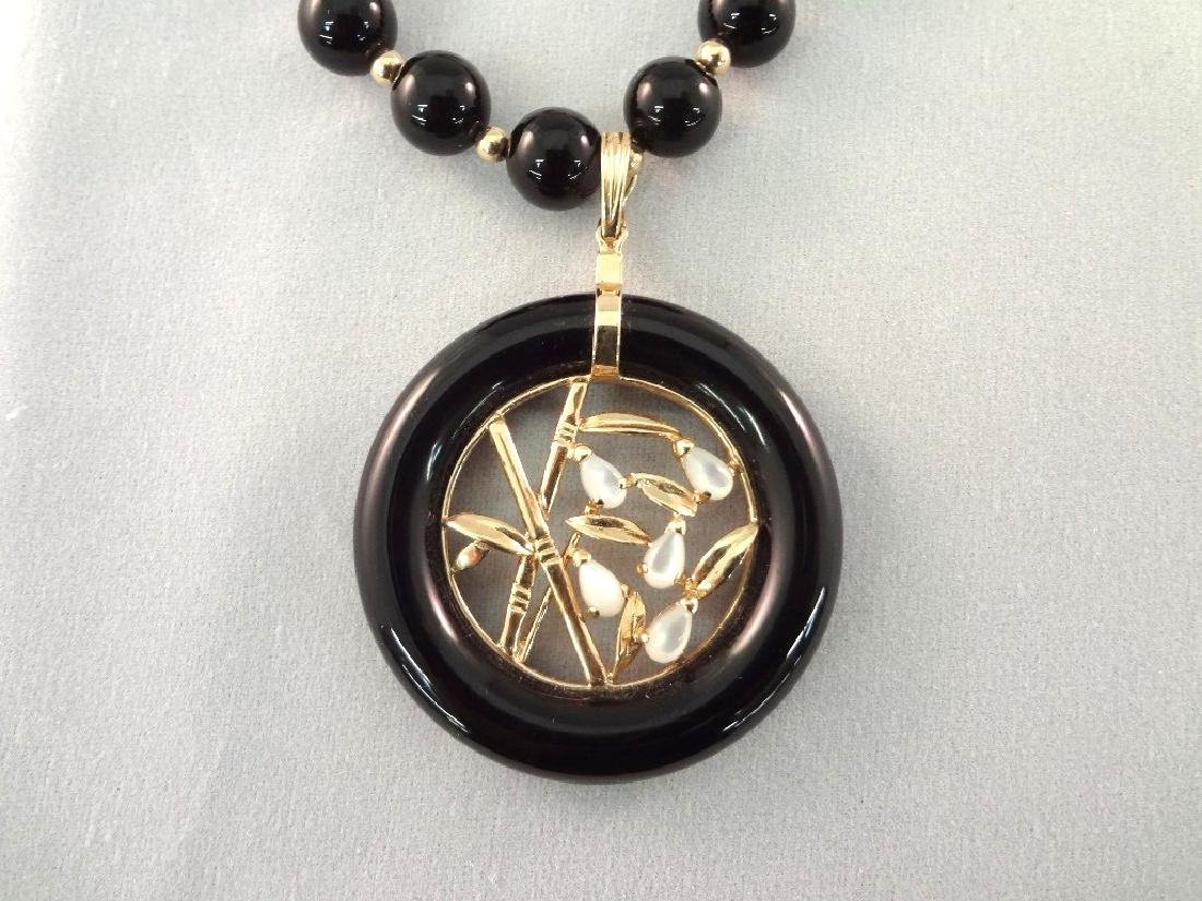 14K Gold Black Jade Jewelry Suite: (1) Necklace, (4) - 2