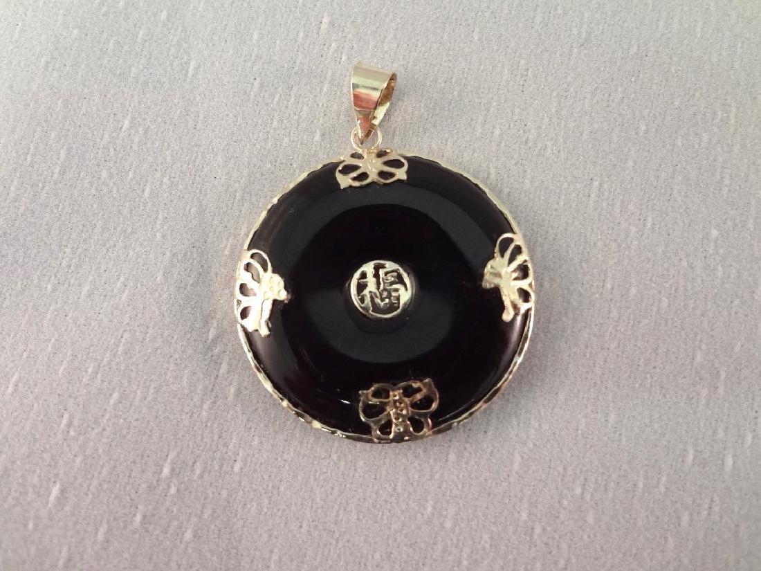 14K Gold Black Jade Jewelry Suite: (1) Necklace, (4) - 6