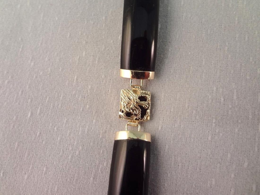14K Gold Black Jade Jewelry Suite: (1) Necklace, (4) - 9