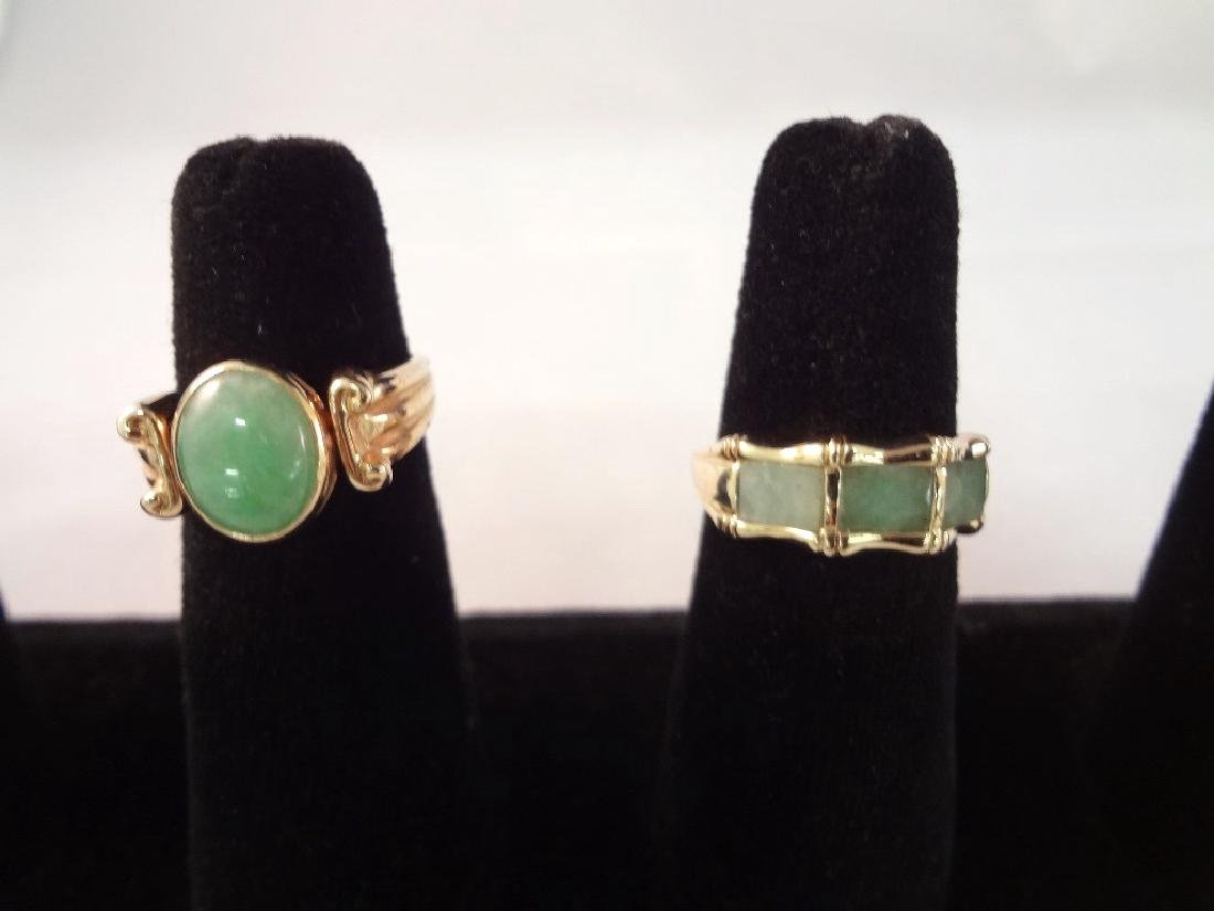 (2) 14K Gold and Green Apple Jade Rings: Bamboo Cut,