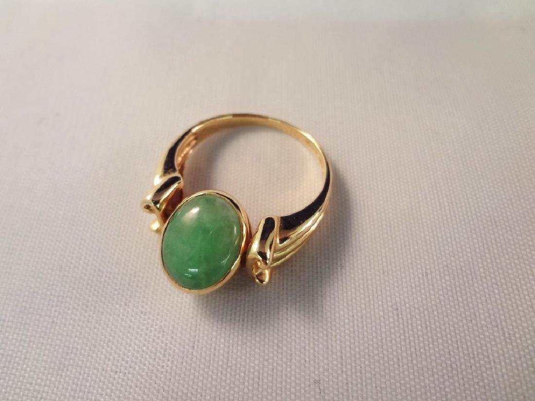 (2) 14K Gold and Green Apple Jade Rings: Bamboo Cut, - 2
