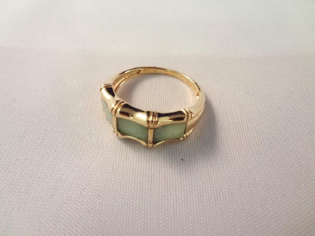 (2) 14K Gold and Green Apple Jade Rings: Bamboo Cut, - 4