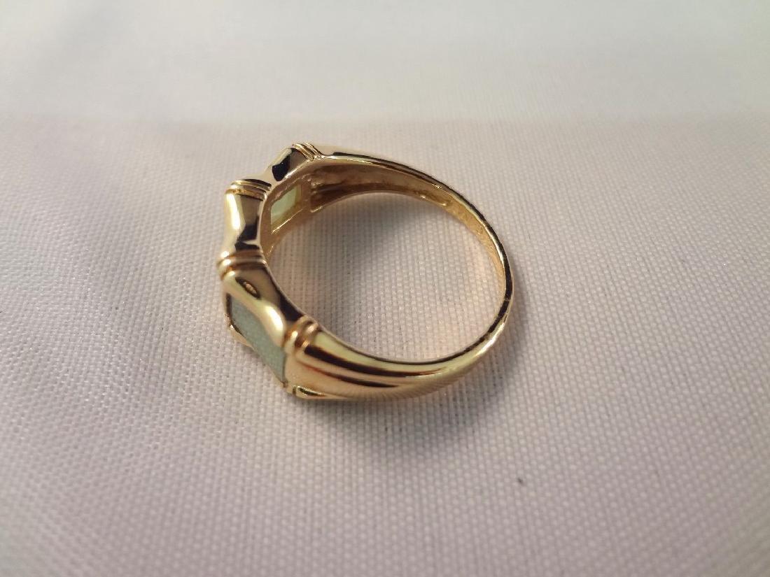 (2) 14K Gold and Green Apple Jade Rings: Bamboo Cut, - 5