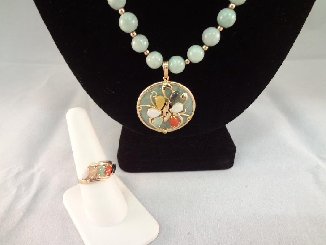 14K Gold and Multi-color Jade Necklace, Pendant and