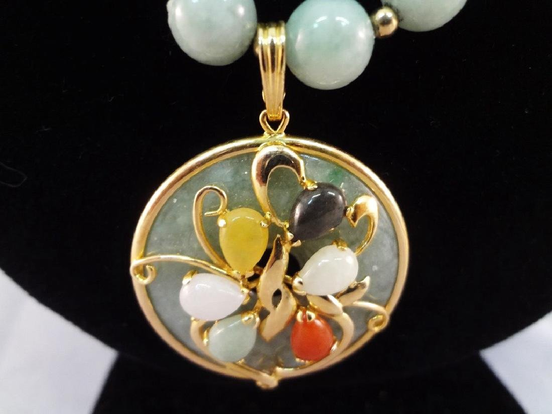 14K Gold and Multi-color Jade Necklace, Pendant and - 5