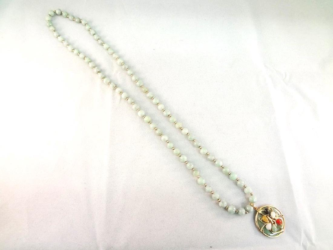 14K Gold and Multi-color Jade Necklace, Pendant and - 6