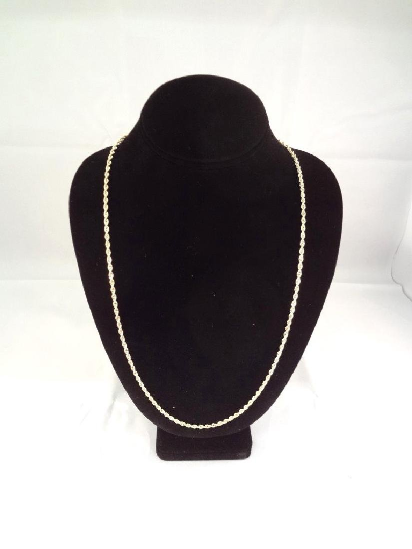 """14K Gold Necklace Rope Chain 32"""" Long, .14 troy ounces"""
