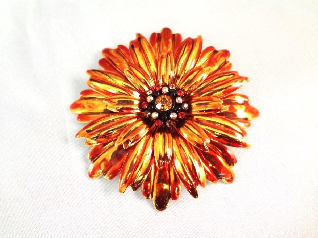 Joan Rivers (5) Large Oversize Floral Enamel Rhinestone - 2