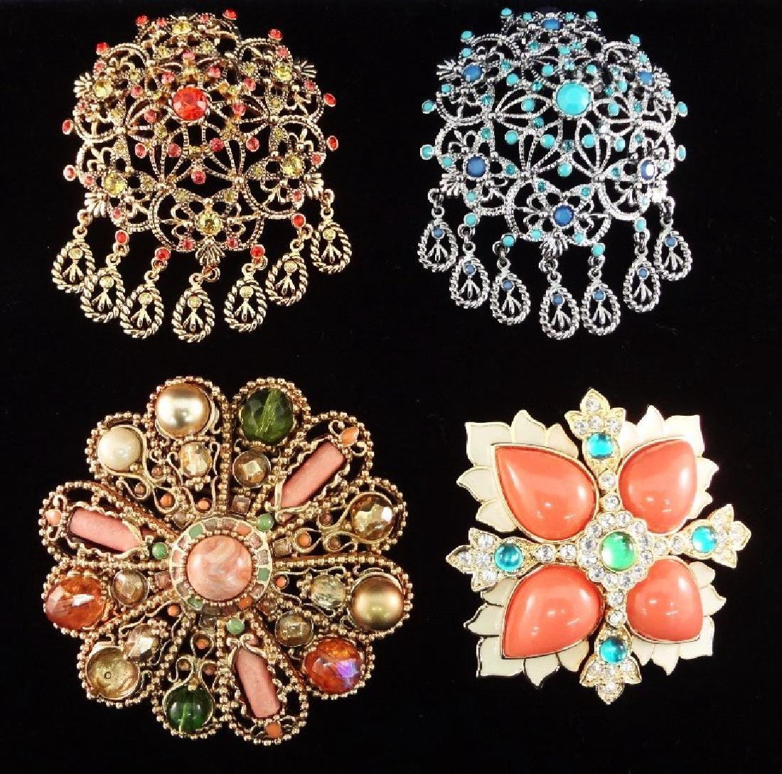 Joan Rivers (4) Large Chunky Oversize Floral Brooches: