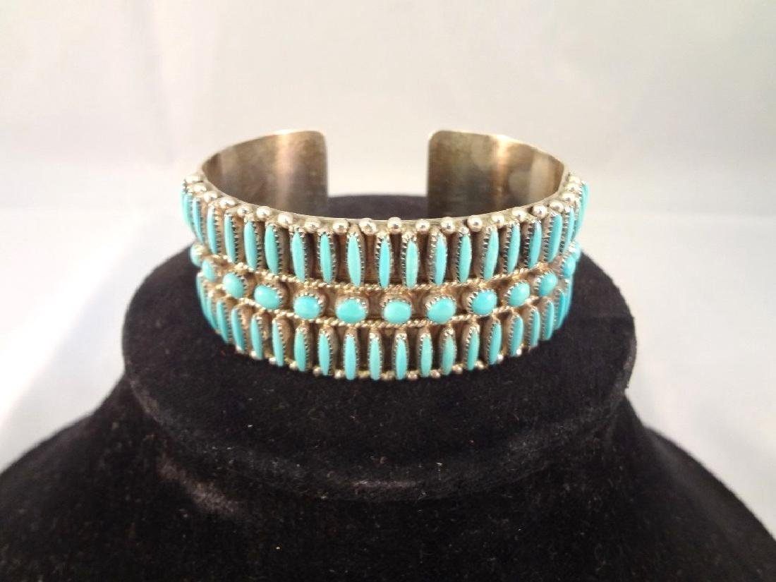 M.D. Besselente Zuni Needlepoint Sterling and Turquoise