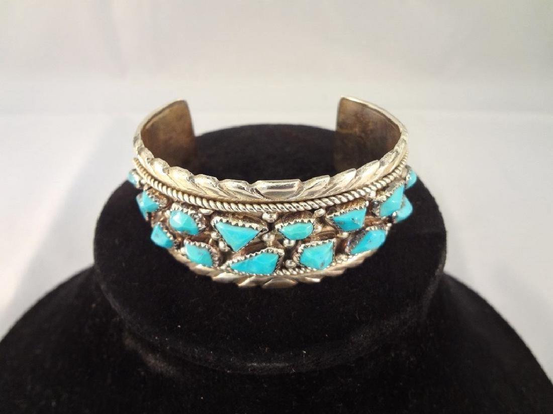 Wayne Cheama Zuni Sterling Turquoise Cuff Bracelet